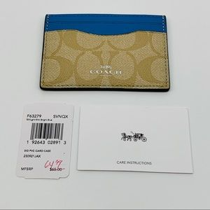 Coach NWT Signature Card Case Bright Blue/Lt Khaki